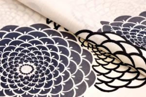yukata chrysanthemum Marugiku beige cotton linen kondaya genbei kyoto Ikoma Nara Obi Kimono Yamaguchi