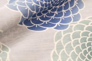 yukata chrysanthemum Marugiku blue gray grey cotton linen kondaya genbei kyoto Ikoma Nara Obi Kimono Yamaguchi